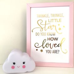 +'Twinkle+twinkle+little+star+do+you+know+how+loved+you+are'+Foil+Print+Artwork+A4,+Gold+foil+Print+for+Nursery+baby+room, $16.00