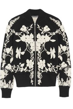 ALEXANDER MCQUEEN Floral-intarsia stretch-knit bomber jacket