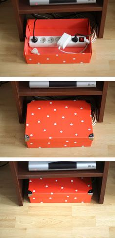 Storage life hack for hiding ugly cords….YES!