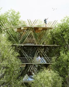 ~ Design collective Penda has developed a concept for a flexible, portable hotel made from rods of bamboo, designed to bring guests closer to nature