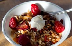 Grain free, gluten free this paleo granola is full of healthy fatty acids and vitamins from nuts, Chia seeds, Goji berries and dried strawberries. Paleo cereal!