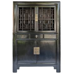 Black Lacquer Cabinet HB 3069 | From a unique collection of antique and modern furniture at https://www.1stdibs.com/furniture/asian-art-furniture/furniture/