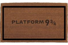"Platform 9 3/4 Sign, Harry Potter, King's Cross Train Station Door Mat - Coir Doormat Rug, 2' x 2' 11"" Outdoor Mat, Housewarming Gift"