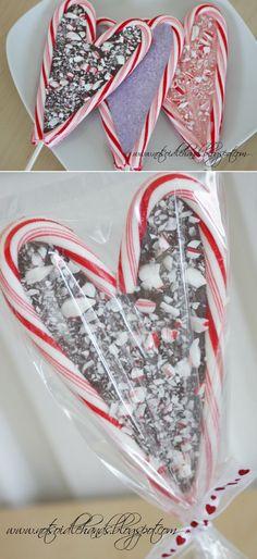 Candy Cane Valentine Suckers