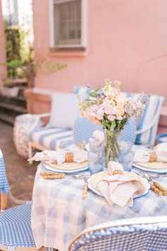 Gal Meets Glam A Spring Inspired Table Just In Time For Easter Gingham Tablecloth, Aerin x William Sonoma Dinner Plates, Gingham Salad Plates, Bamboo Flatware, Pink Striped Napkins, Etched Floral Glasses