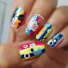 Instagram media by mcbnails - A much clearer photo of my previous post :) Colorful floral mani