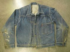 1940's Levi Strauss & Co. 506 Type I   WWII regulated version with no pocket flap/button and 4 front wreath donut buttons (normally 5).