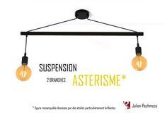 Lámpara escandinava para la cocina ASTERISM  2 bulbos negro