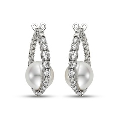 Diamond and Pearl Earrings available at Houston Jewelry!