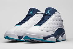 "Air Jordan 13 (XIII) Retro Low ""Hornets""White/Metallic Silver-Midnight Navy-Turquoise 310810-107 [310810-107] - $88.00 :"