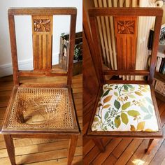 We had an old chair that we liked but which became more than dangerous to the seat … Given that the price of a new caning done in the old rises … Diy Furniture Easy, Reupholster Furniture, Furniture Repair, Recycled Furniture, Furniture Making, Furniture Makeover, Painted Chairs, Painted Furniture, Old Chairs