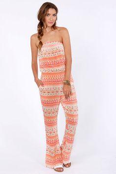 Volcom Quincy Davis Orange Print Jumpsuit at LuLus.com! #lulusrocktheroad