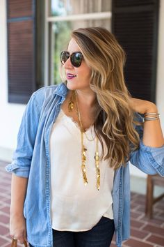 Lace Cami and Chambray by NC fashion blogger Coffee Beans and Bobby Pins