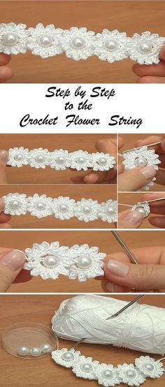 "diy_crafts- Crochet Mini Flower String ""a collection of crochet cord"", ""Crochet Mini Flower String- I used a size 7 steel hook and crochet cot Crochet Puff Flower, Crochet Flower Tutorial, Crochet Flower Patterns, Crochet Flowers, Crochet Cord, Thread Crochet, Crochet Stitches, Yarn Projects, Crochet Projects"