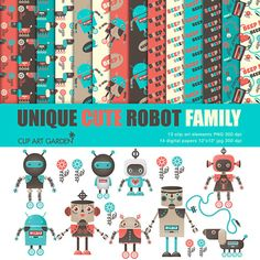 Unique Cute Robots Clip Art Elements and Digital Backgrounds for Personal and Commercial Use (paper crafts,card making,scrapbooking)