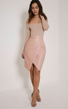 Greer blush faux leather wrap front mindi  skirt