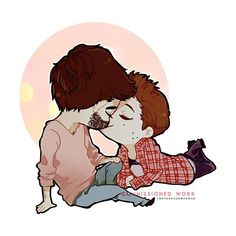 chibi!sterek, plaid shirt stiles, stubble derek, sweater derek