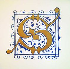 Blue and Gold Letter S - Adapted from an initial by 16th Century calligrapher Joris Hoefnagel - Opaque watercolor and 23K gold leaf on paper
