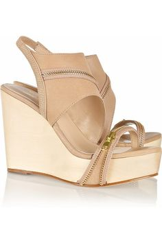 e389c8d09988 Halston Heritage s Abby Zip-Detailed Leather Wooden Wedge Sandals are a must -have fashion item. You have got to have these cool shoes.