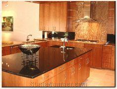 Custom Kitchen Brazil Black Granite Via Lactea Black Granite Kitchen Countertops