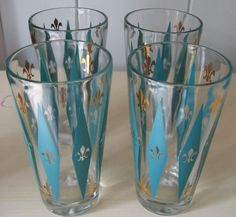 VINTAGE RETRO SET/4 TALL HEAVY TEA OR DRINK GLASSES WITH TEAL AND GOLD PATTERN