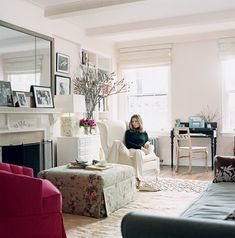 In the Manhattan apartment of author Plum Sykes, the walls are done in Farrow & Ball Pink Ground, which lends warmth to the space without making her husband feel as though the room is too feminine.