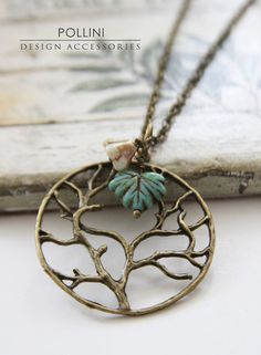 Tree of Life Vintage Long Necklace with Czech maple leaf and flower by PolliniAtelier, $17.00