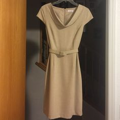 """Classic vintage look Calvin Klein dress This is beyond a beautiful dress. It can go anywhere and fit in. It has a hidden back zipper and a 6"""" kick pleat. Fully lined. This dress just feels good on.  Calvin Klein Dresses Midi"""