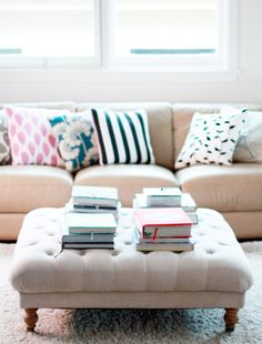 A roundup of DIY ottomans via Dotcoms For Moms. Heck yes!