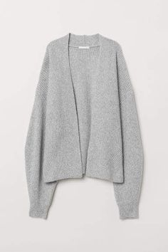 9056532d7e H&M Rib-knit Cardigan - Gray Damast, Rippen Stricken, Neue Outfits, Weste