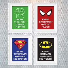 Boys' bathroom~ Superhero Reminder Bathroom Art Set of 4 by DreamsvilleCreations, $30.00