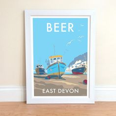 Beer vintage style travel poster and seaside print forms part of the British Coastlines travel art collection. Created by Devon Artist Becky Bettesworth. Travel And Tourism, Vintage Travel, Travel Posters, Seaside, Vintage Fashion, Vintage Style, Poster Prints, Beer, Frame