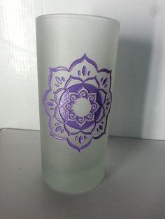 Purple Lotus Mandala Etched Glass Tall Candle Holder Votive Pillar Altar Yoga
