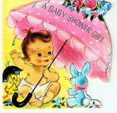 Vintage Birthday Card Baby Pink Parasol Shower Gift by PaperPrizes