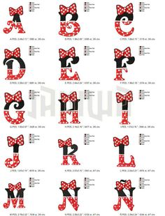 New embroidery monogram minnie mouse 15 Ideas Disney Letters, Disney Alphabet, Embroidery Monogram, Embroidery Fonts, Embroidery Designs, Cross Stitch Alphabet, Cross Stitch Patterns, Cadeau Harry Potter, Mickey Font