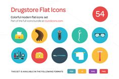 Drugstore Flat Icons Set by roundicons.com on @creativemarket
