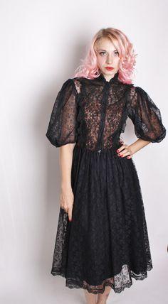 Victorian Steampunk Black Lace Dress / Black Lace Dress / Dress / Dresses /  Avant Garde / Romantic / Goth / Gothic / Lolita / 1226. $122.00, via Etsy.