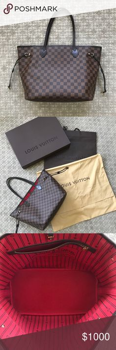 Louis Vuitton Damier Neverfull MM Legendary Neverfull MM structured yet simple classic tote. Comes with box, bag,  and dust bag. In pre- loved condition. I've tried to show signs of wear. The closeup of the corner is the most worn corner. There are signs of wear along the top rim of bag. Please see photos - I just want to to be honest. I've kept a liner in the bag almost always so the inside is great. No pouch. No trades. I don't smoke. Louis Vuitton Bags Totes