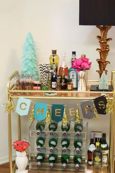 Devon Rachel Holiday Bar Cart | http://www.devonrachel.com/2013/12/around-my-home-retro-glam-holiday-decor.html