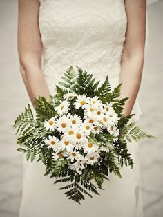 {Beautiful Bouquet Of White/Yellow Daisies, & Green Leather Leaf Fern}