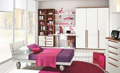 Colorful Children Bedroom for Creative Children's Growing Experience: Kids Bedroom With Pink Accents And Glass Wall ~ stepinit.com Kids Room...