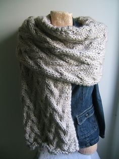 SO SO YUMMY!    Ravelry: Giant Travelling Cable Wrap pattern by Lorraine Hearn