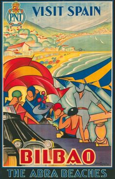 Fantastic Art Deco poster for Spain: Bilbao and the Abra Beaches, 1930 (artwork by Antonio de Guezala y Ayrivié)