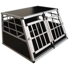 Zoomundo dog pet car #transport box #aluminium cage 2-doors car cargo #carrier, View more on the LINK: http://www.zeppy.io/product/gb/2/321510809200/