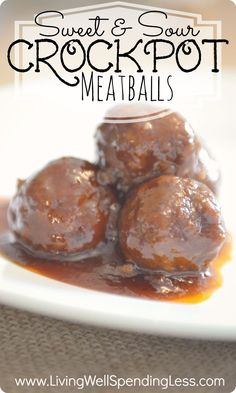 Sweet & Sour Crockpot Meatballs.  There are lots of grape jelly meatball recipes out there but this one is awesome!  Just 5 easy ingredients and 5 minutes to throw together, these meatballs are always the hit of any party or potluck!