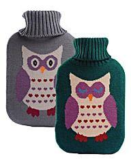 Owl Hot Water Bottles Set of 2