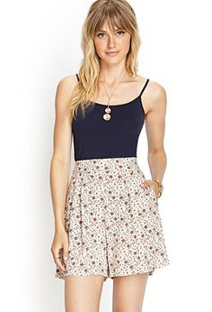 High-Waisted Floral Shorts | FOREVER 21 - 2000087287