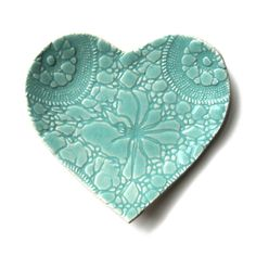 Sweetheart heart shaped plate in Seafoam turquoise blue green stoneware ceramic pottery with vintage lace texture perfect for serving cupcakes or as a candle holder £17.00