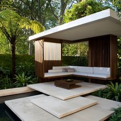 Modern Gazebo With Steps And Sofa Benches And Small Wooden Coffee Table , Beautiful Modern Gazebo Application for Front Yard or Backyard Garden Decor In Uncategorized Category Diy Pergola, Backyard Gazebo, Garden Gazebo, Terrace Garden, Pergola Kits, Garden Oasis, Contemporary Garden Design, Modern Landscape Design, Landscape Architecture Design