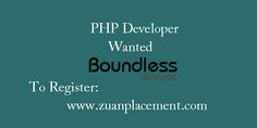 Referral Walkin Drive for #PHP Developer by Zuan Placement Company Name: Boundless Infotech Wanted: PHP #Developer Experience: 0- 1 years Criteria: Must have strong knowledge in PHP For Complete Job information, register below: http://goo.gl/rLQBn4  #Developers #Jobs #ITJob #walkin #developerwanted